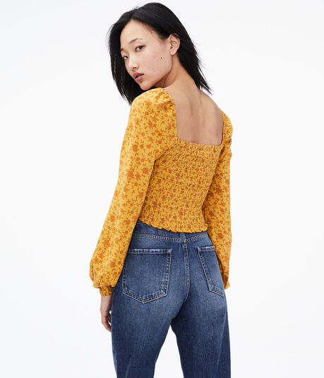 Long Sleeve Floral Cropped Top