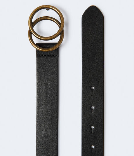 Faux Leather Double-Ring Belt