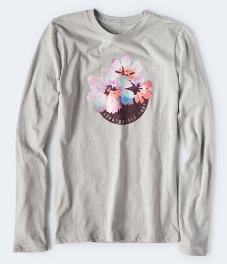 Long Sleeve Watercolor Flower Graphic Tee