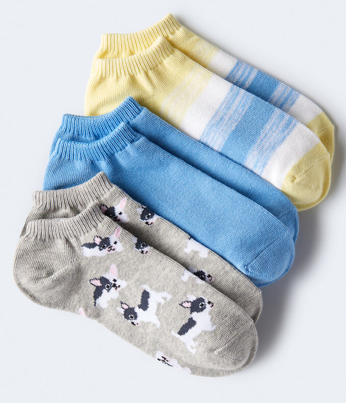 Frenchie Pup Ankle Sock 3-Pack