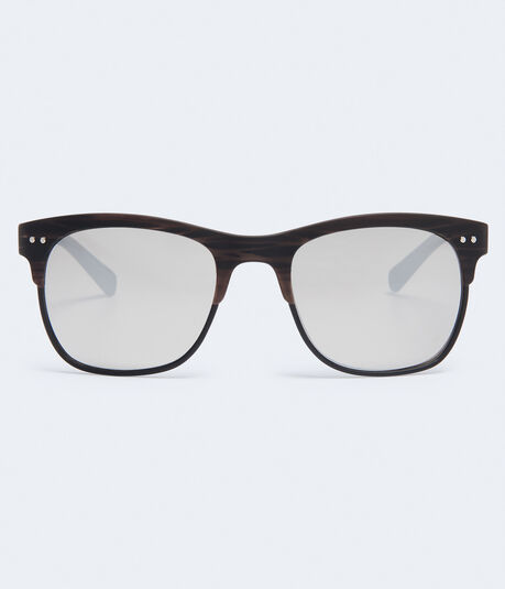 Faux Wood Mirrored Waymax Sunglasses
