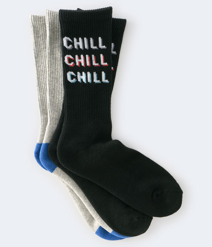 Chill & Solid Crew Sock 2-Pack***