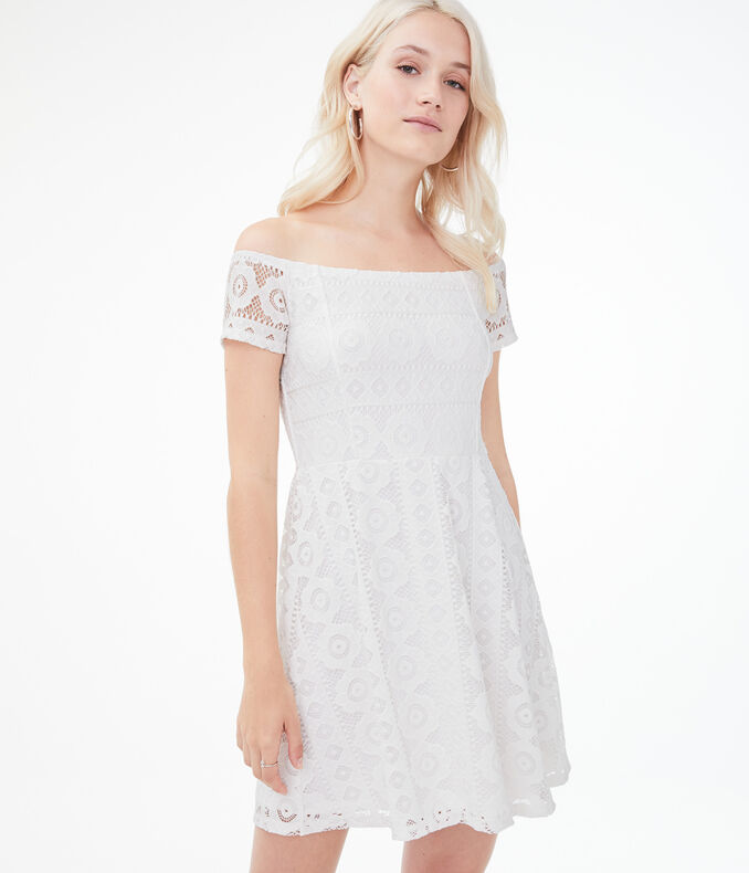 Lace Off The Shoulder Fit &Amp; Flare Dress by Aeropostale