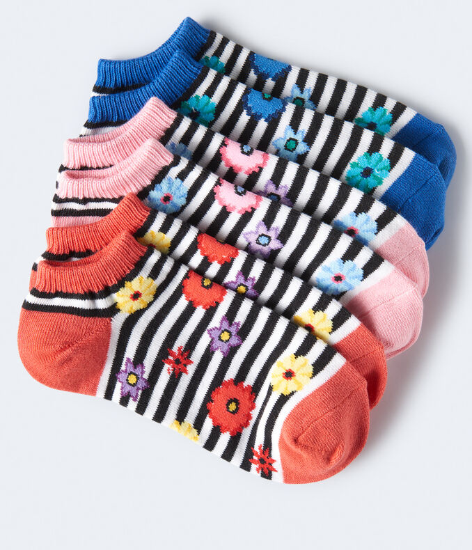 Striped Floral Ankle Sock 3-Pack