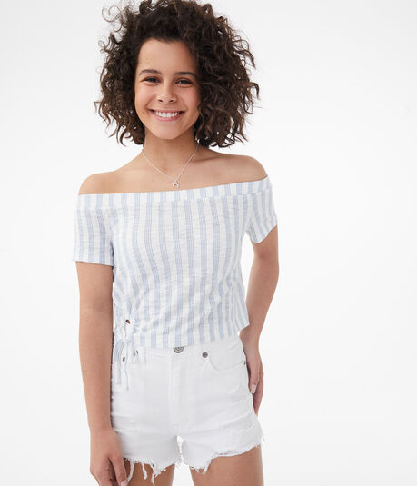 Striped Keyhole Tie Off-The-Shoulder Crop Top