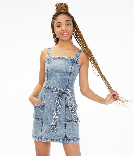 Belted Denim A-Line Dress