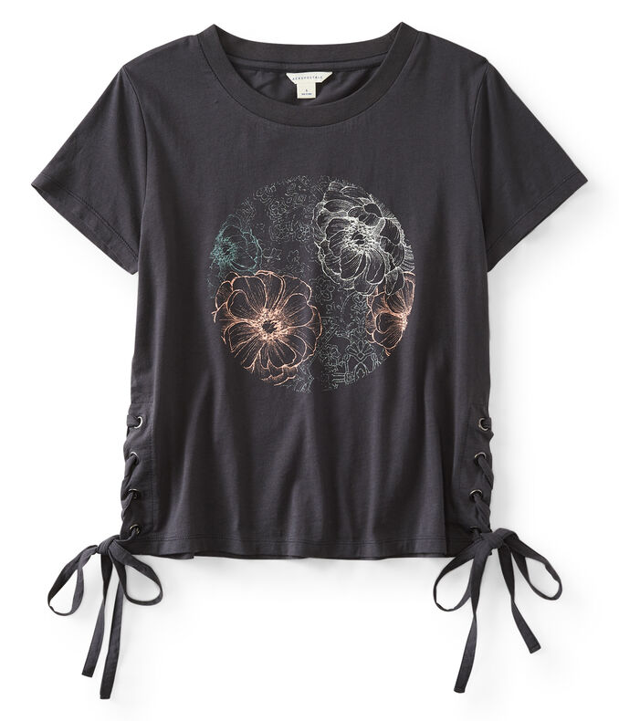 Floral Side-Tie Graphic Tee
