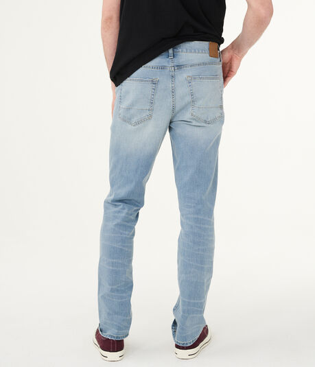 Slim Straight Light Wash Distressed Stretch Jean