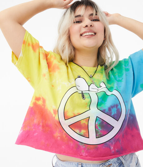 Snoopy Peace Sign Tie-Dye Cropped Tee