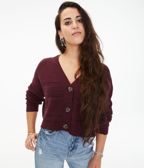 Double-V Cropped Cardigan