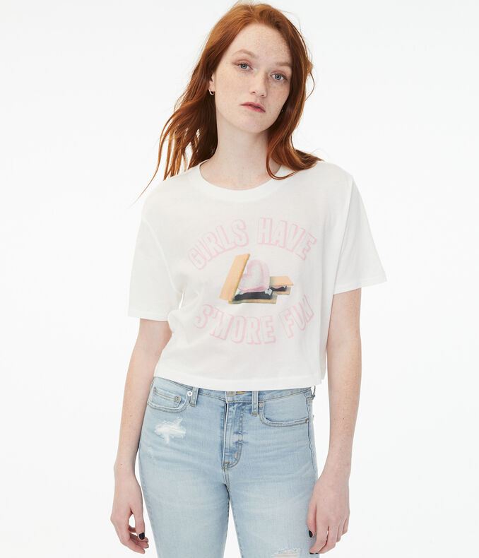 S'more Fun Boxy Cropped Graphic Tee
