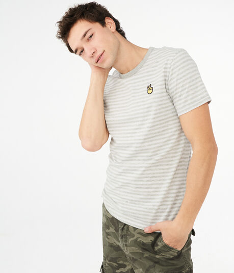 Peace Emoji Striped Graphic Tee