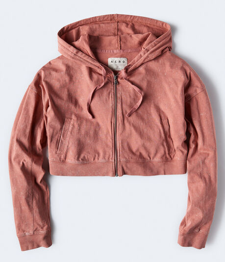 Lightweight Cropped Full-Zip Hoodie
