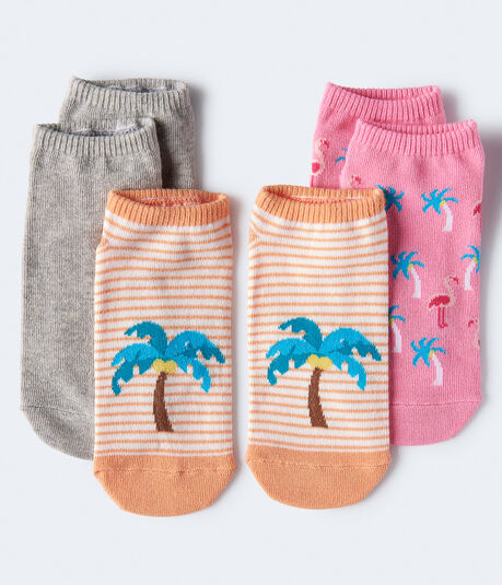 Palm Tree Ankle Sock 3-Pack