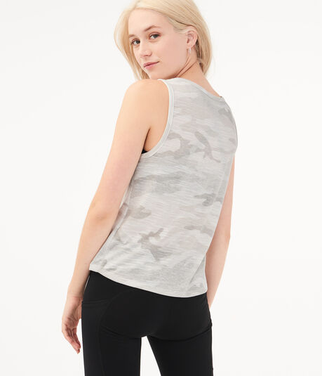 Camo Tie-Front Muscle Tank
