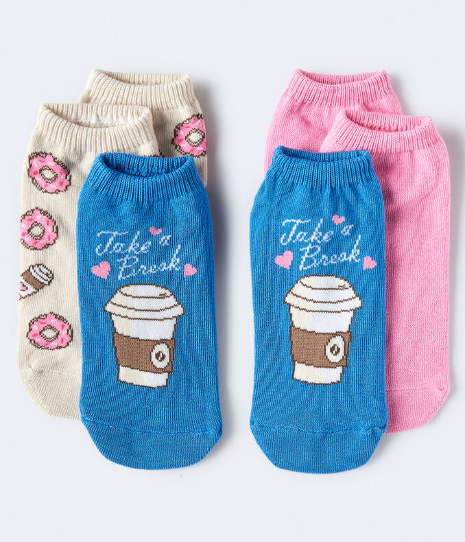 3-Pack Coffee, Donuts & Solid Ankle Socks***