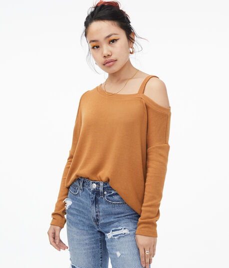 Asymmetrical Cold-Shoulder Sweater***