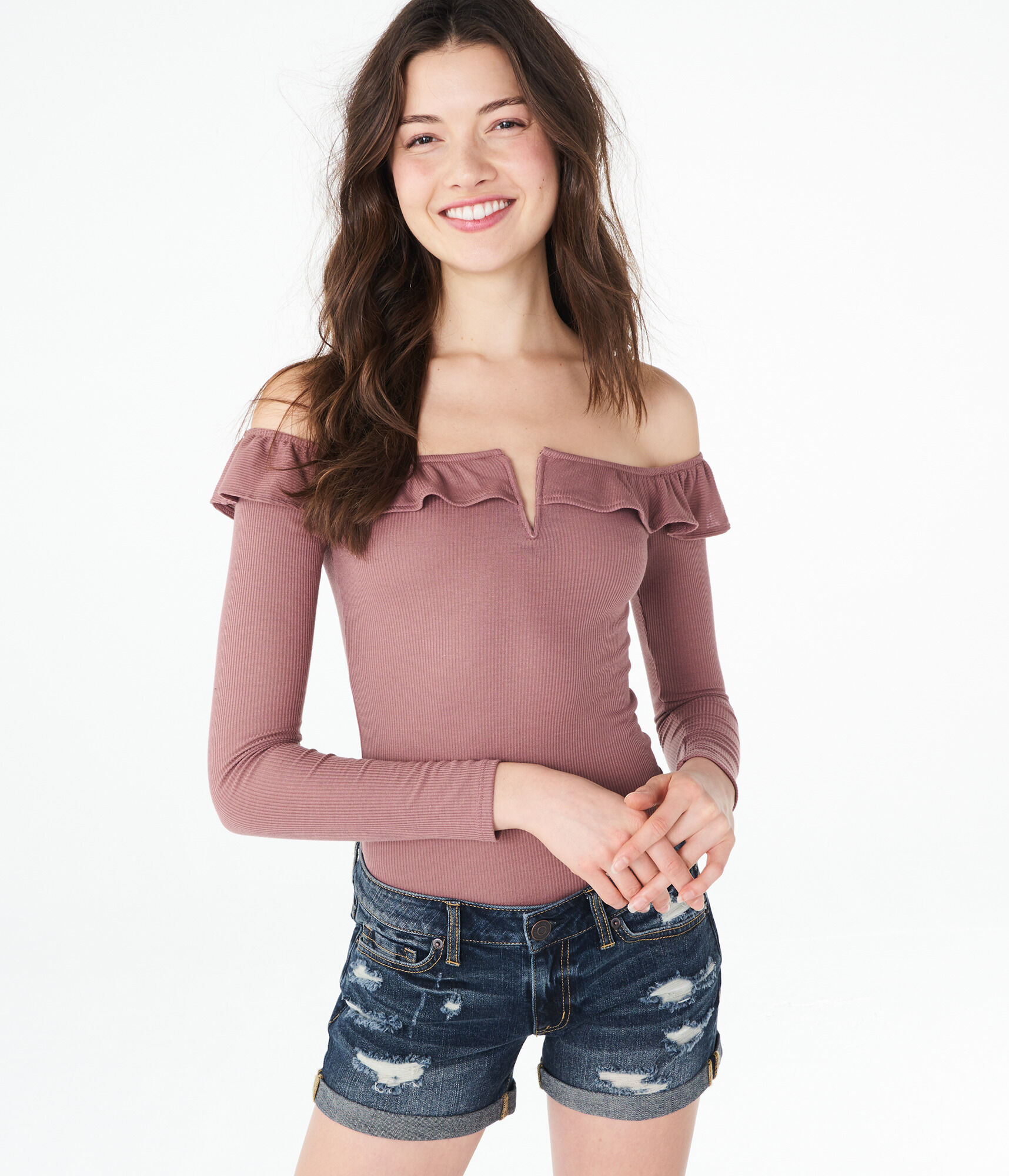 4f4d6a6168050a aeropostale womens long sleeve striped ruffle v-wire off-the-shoulder top  Tops
