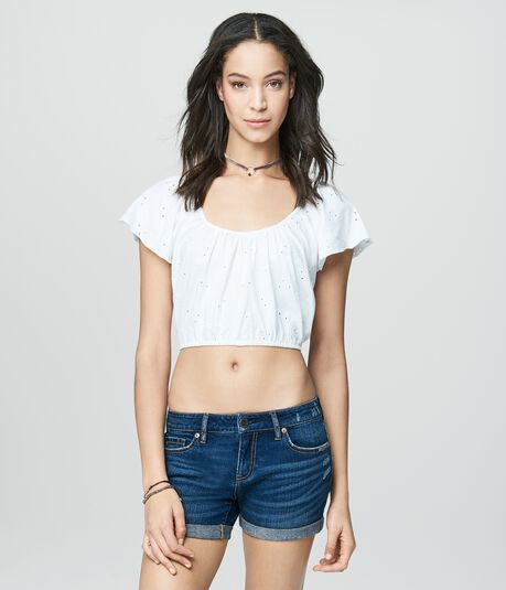 Prince & Fox Eyelet Cropped Peasant Top