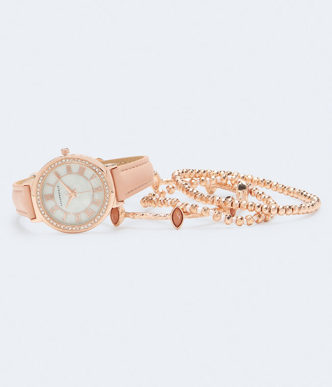 Rhinestone Faux Leather Watch & Bracelet Set