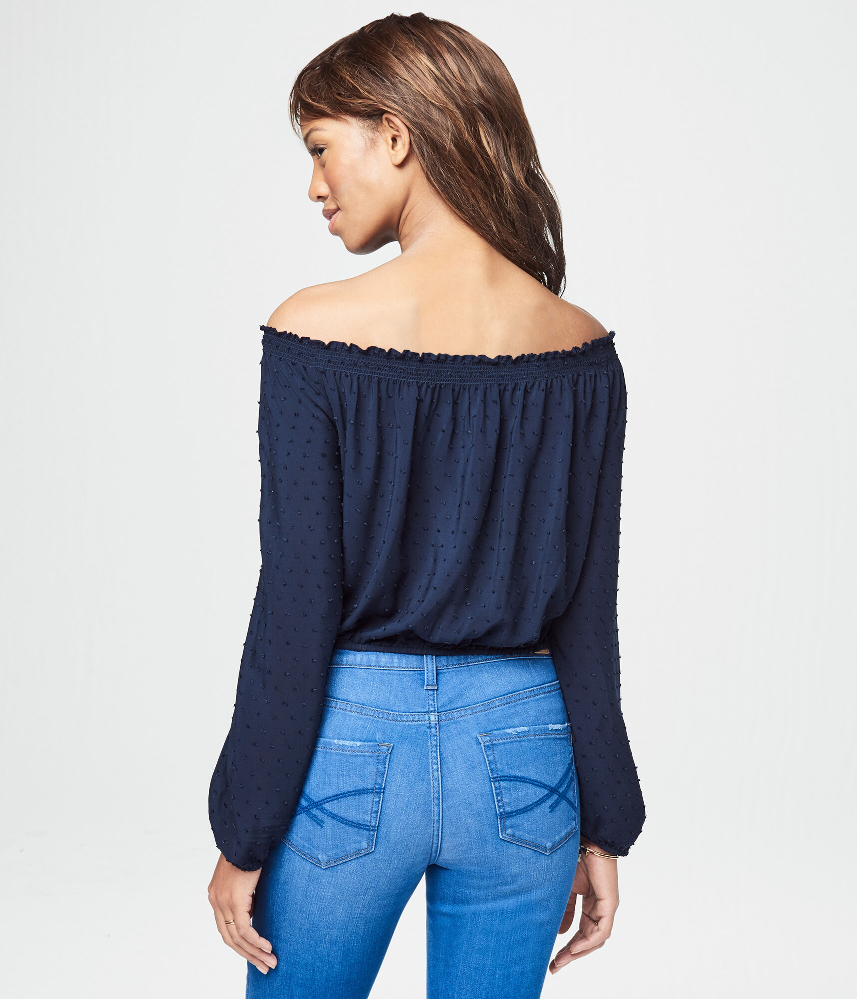 fa9a459ce7 Long Sleeve Off-The-Shoulder Crop Top   Aeropostale