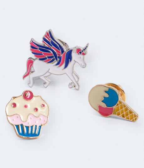Unicorn, Cupcake & Ice Cream Pins 3-Pack
