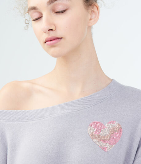 LLD Heart Off-The-Shoulder Sweatshirt