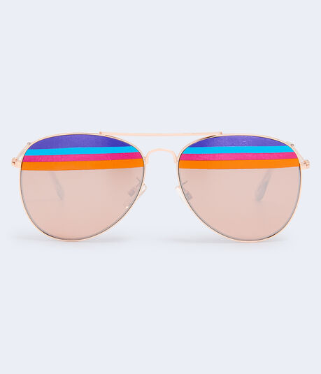 Rainbow Stripe Aviator Sunglasses***