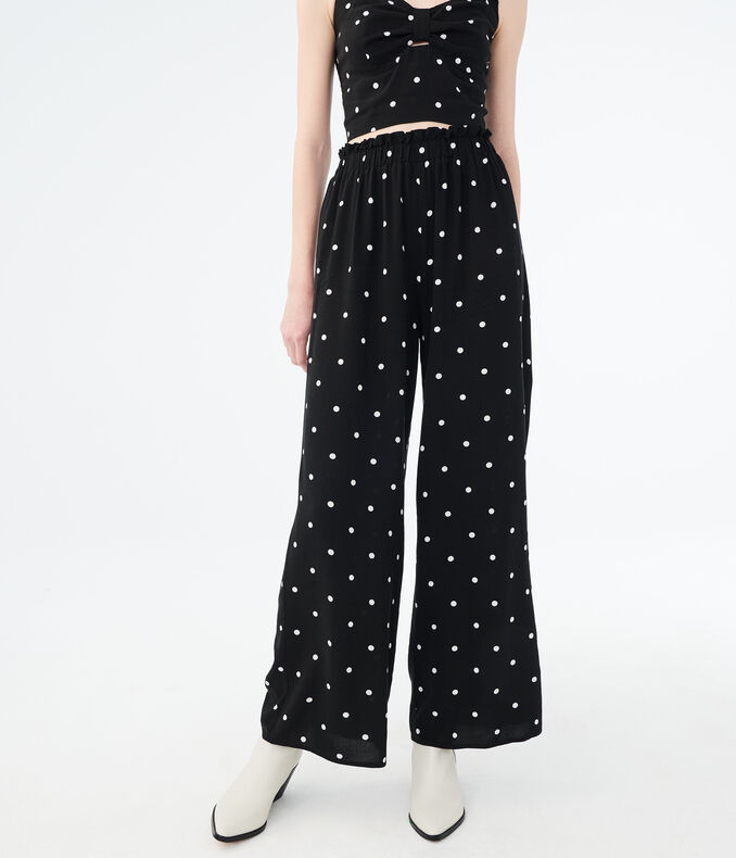 High-Rise Polka Dot Wide-Leg Pants