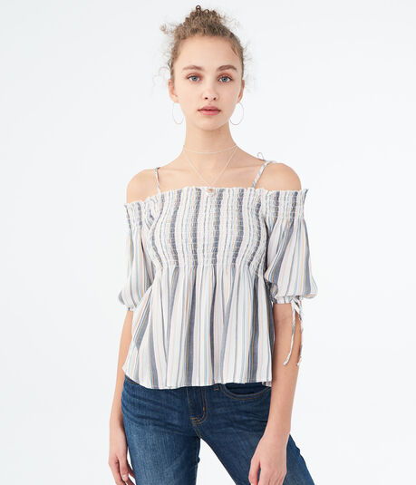 Striped Smocked Cold-Shoulder Top