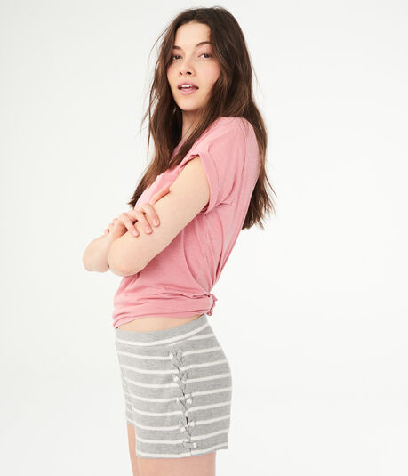 LLD Striped Fuzzy Lace-Up Shorts