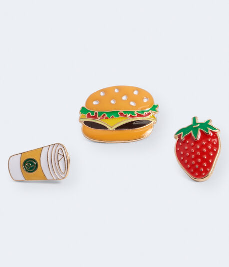Coffee, Burger & Strawberry Pins 3-Pack