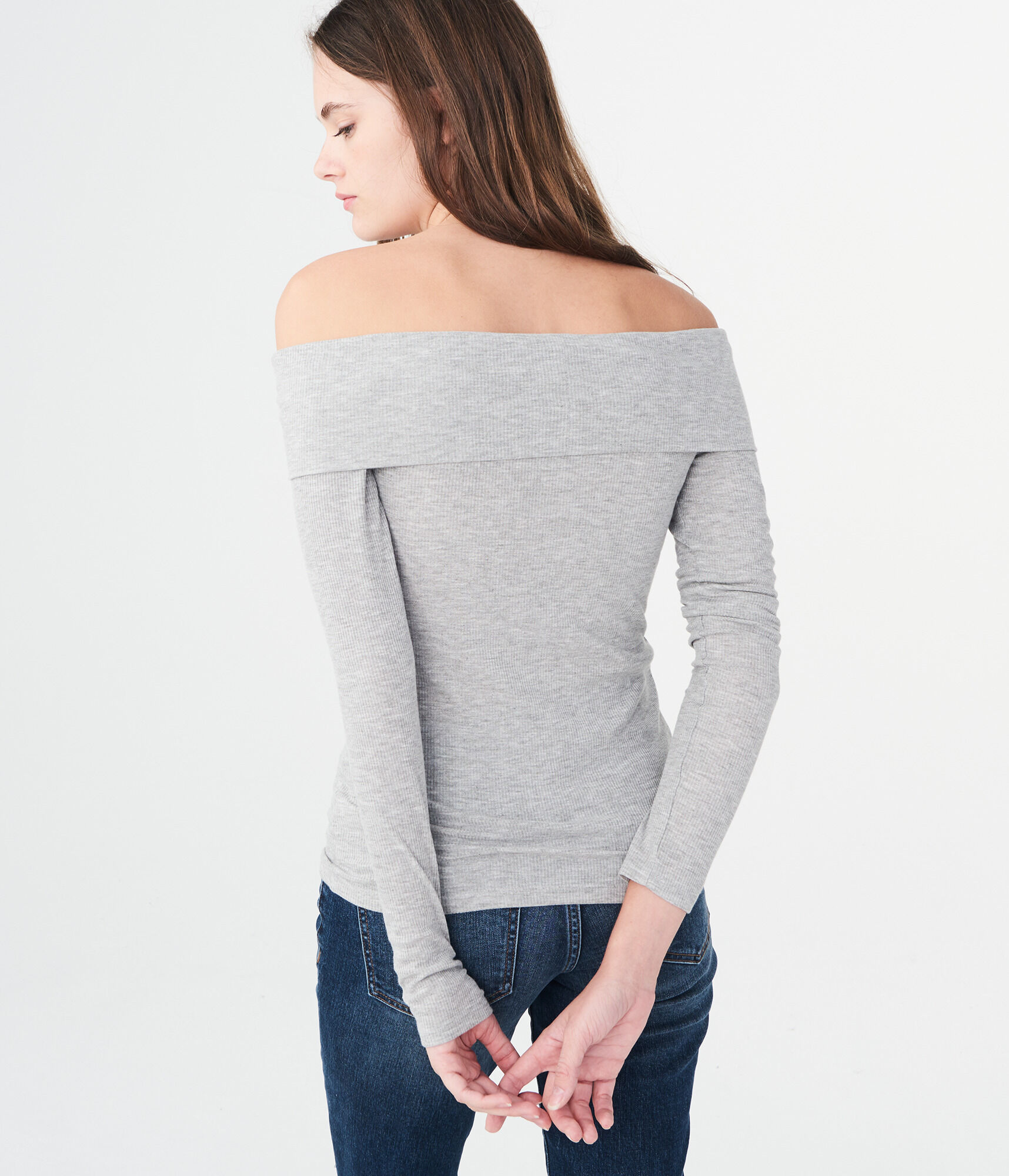a5b27a23368269 ... Long Sleeve Heathered Folded Off-The-Shoulder Top    ...