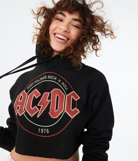 AC/DC Cropped Pullover Hoodie
