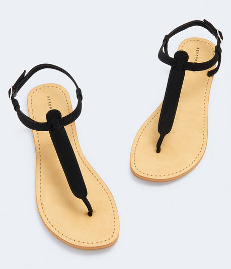 Faux Leather T-Strap Sandal***