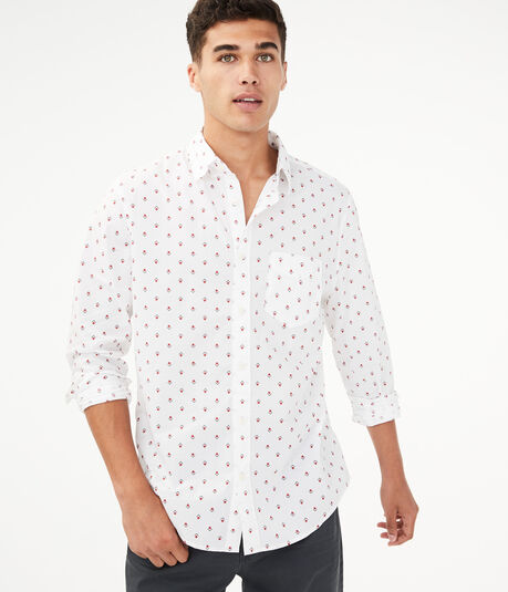 Long Sleeve Geometric Button-Down Shirt