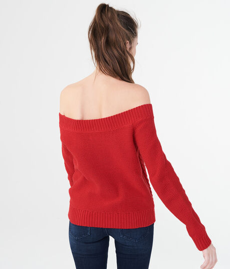 Solid Off-The-Shoulder Cable Sweater