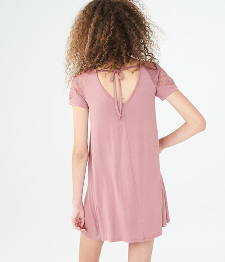 Solid V-Neck Lace-Shoulder Shift Dress