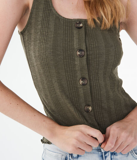 Solid Ribbed Button Tank