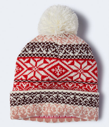 Fairisle Pom Knit Hat***
