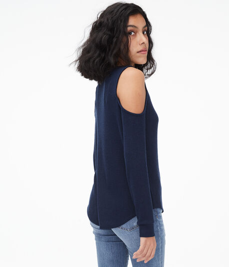 Long Sleeve Strappy Cold-Shoulder Top***
