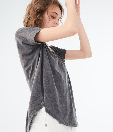 Solid V-Neck Tunic Tee