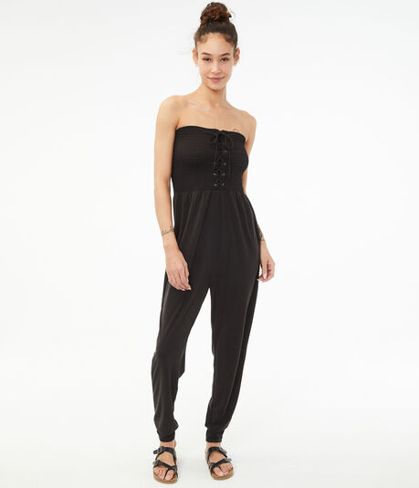 Lace-Up Off-The-Shoulder Jumpsuit