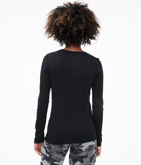 Long Sleeve Shimmery Aero Script Graphic Tee
