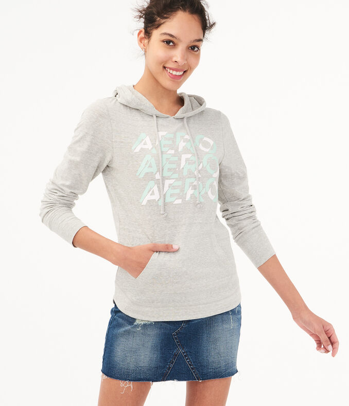 Long Sleeve Repeating Logo Hooded Top by Aeropostale
