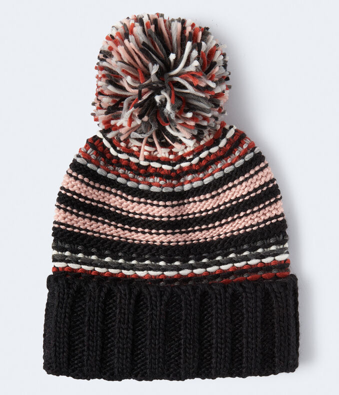 Striped Pom Beanie