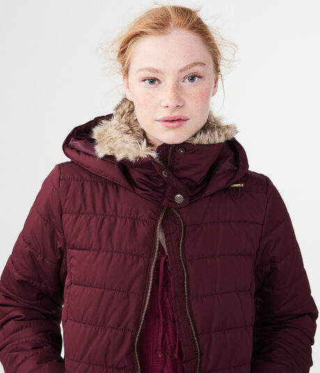 Solid Faux Fur-Trim Puffer Jacket