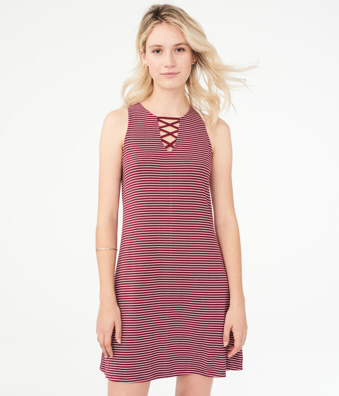 Striped Lace-Up Shift Dress