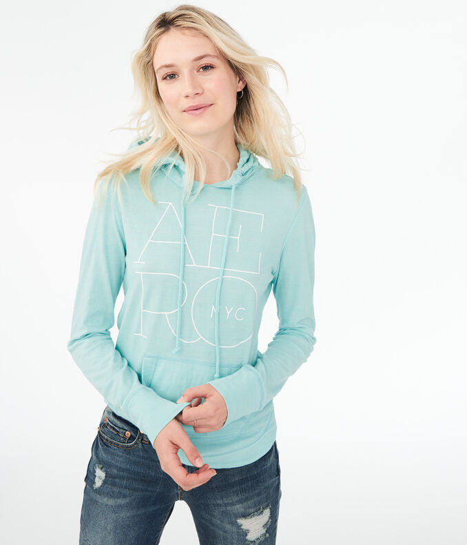 Long Sleeve Stacked Aero Logo Hooded Top*** by Aeropostale