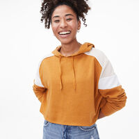 Deals on Aeropostale Womens Colorblock Cropped Pullover Hoodie